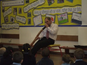 Mr Kirkpatrick and his didgeridoo.