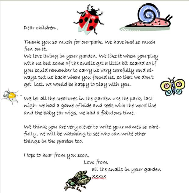 a letter from the snails
